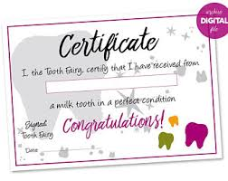tooth certificate etsy
