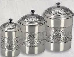 stainless steel canisters kitchen stainless steel pewter plated 3 embossed steel canister set