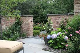 garden brick wall design ideas landscape traditional with red
