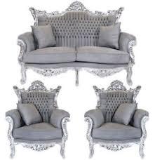 canape baroque salon rococo canape 2 fauteuils baroque royal en hetre argent