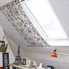 Home office with roof blind  Podkrovi  Pinterest  Attic Curtains