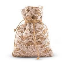 rustic chic burlap and lace drawstring favor bags the knot shop