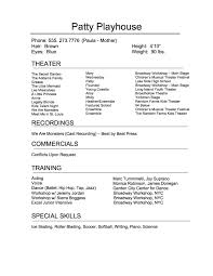 Musical Theater Resume Sample by Audition Tips Broadway Workshop