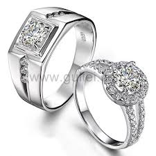 couples rings images Engravable sterling silver synthetic diamond engagement couples jpg