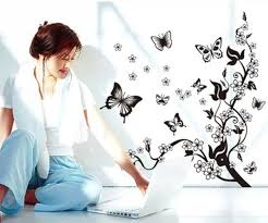 wall stickers home decor home decor flowers butterfly removable wall paper stickers art