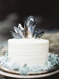 12 simple white wedding cake black blue shell topper once wed