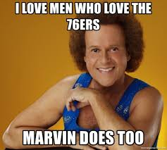 Too Gay Meme - i love men who love the 76ers marvin does too gay richard simmons