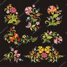vector floral ornaments in russian style stock vector clipart