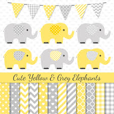 baby shower grey elephant clipart collection