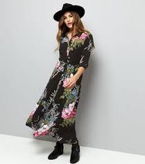 black floral print 1 2 sleeve maxi shirt dress new look