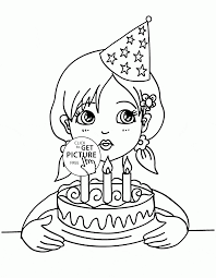 blowing the candles on the birthday cake coloring page for