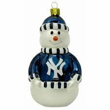 york yankees glass snowman ornament