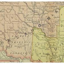 Map Oklahoma Map Indian U0026 Oklahoma Territory 1891 Original Art Antique