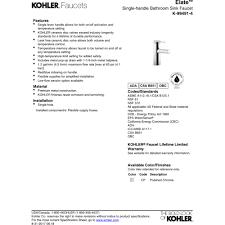 kohler k 99491 4 cp elate polished chrome one handle bathroom