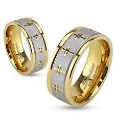 wedding rings cross images Womens mens gold brushed stainless steel cross wedding band ring jpg