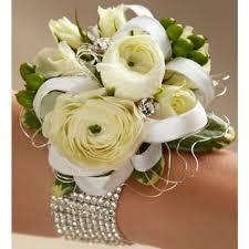 White Rose Wrist Corsage White Ranunculus Wrist Corsage Tallahassee Florist Flowers