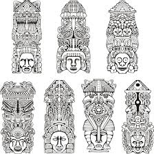 inca coloring pages affordable click the tiki tribal pole