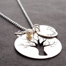 Mothers Necklace With Children S Names Family Tree Jewelry Custom Hand Cut Oak Tree W