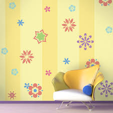 kids room decor red white and orange flower wall stencils for