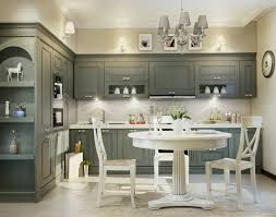 White Kitchen Cabinets With Grey Marble Countertops Classic White Kitchen Design Grey Table Chair White Stool Chair