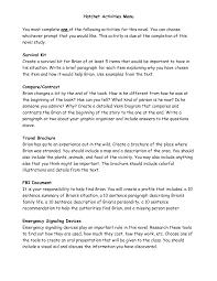 hatchet worksheets hatchet activities menu 5th grade