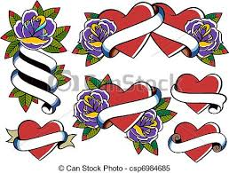 rose and heart tattoo stock illustrations search clipart