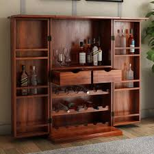 Rustic Bar Cabinet Rustic Solid Wood Expandable Bar Cabinet With Wine Storage