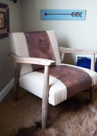 Mid Century Chair Leather And Linen A Mid Century Chair Makeover Averie Lane