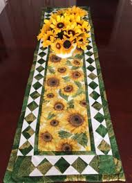 48 inch table runner 48 inch sunflower quilted table runner quilted sunflower table