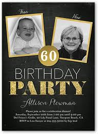 turning 60 party ideas birthday invitations then and now frames square corners black