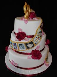 50th golden wedding anniversay fondant cake with photos