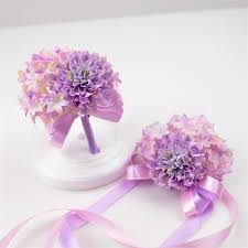 How To Make Corsages And Boutonnieres Pink And Purple Diy Wedding Bride Bouquet Wrist Corsage