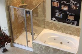 bathroom shower and tub ideas trendy white acrylic corner bathtub with shower cubicle and brown