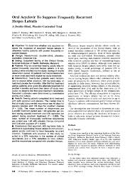 Double Blind Research Oral Acyclovir To Suppress Frequently Recurrent Herpes Labialis A