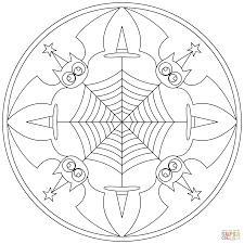halloween mandala with bats coloring page free printable