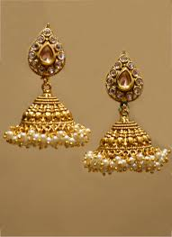 jhumka earrings pearl cluster golden kudan jhumka earrings for women collection