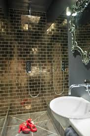 bathroom infinity mirror fired earth gold italian tiles 40cm shower head infinity mirrors