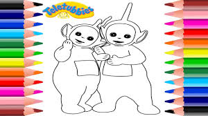 teletubbies coloring pages dipsy and laa laa coloring book