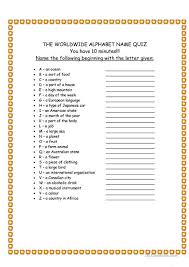 printable organization quiz for students worldwide alphabet quiz worksheet free esl printable worksheets