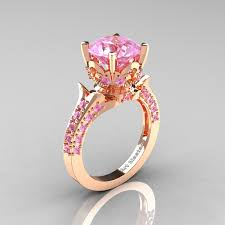 Solitaire Wedding Rings by Classic French 14k Rose Gold 3 0 Carat Light Pink Sapphire