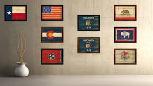 wisconsin state vintage flag canvas with black print picture frame