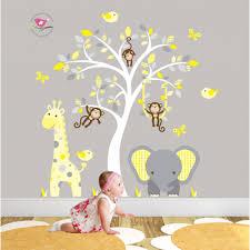 room wall art stickers on branch tree vinyl wall art sticker decal jungle animal nursery wall art stickers kitchen