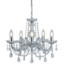 Marie Chandelier Therese Chrome 5 Light Chandelier With Crystal Drops