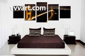 5 piece black canvas city bridge huge pictures bedroom wall decor 5 piece wall art city photo canvas night huge pictures