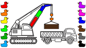 learn colors for kids with crane truck and dump truck coloring