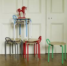 Stackable Dining Room Chairs Dining Room Creative Stacking Chairs Idea With Colorful Painted