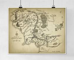 map of the lord of the rings lord of the rings map wall poster middle earth map