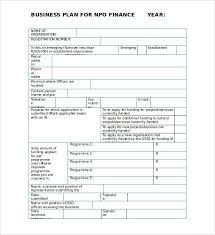 nonprofit business plan template sample business plan form