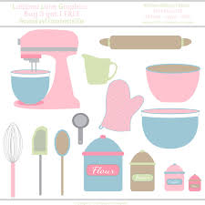 kitchen pastel pink mixer bowls utensils vector illustration