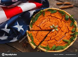 Thanksgiving Flags Pumpkin Pie With American Flag Flat Lay U2014 Stock Photo